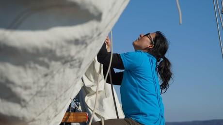 Segelschulchefin Sara Wild auf der Seewiefke